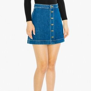 American Apparel Button Front A Line Utility Skirt